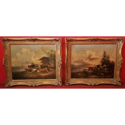Pair Of Paintings '800 Rural Subject