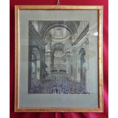 Gravure De l'Intérieur De La Cathédrale De Saint-ursen