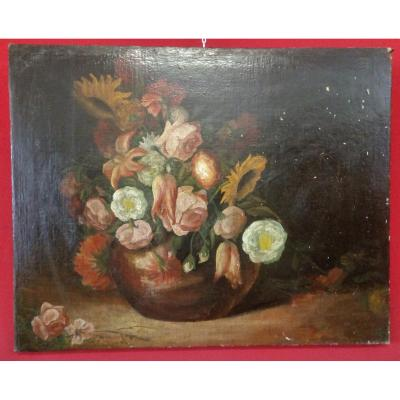 Peinture d'Un Vase De Fleurs