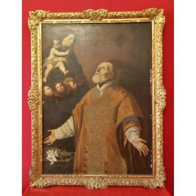 Tableau De San Filippo Neri En Adoration De La Vierge à l'Enfant
