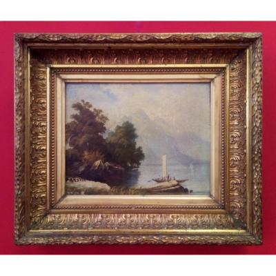 Peinture à l'Huile d'Un Paysage Avec Cadre Doré