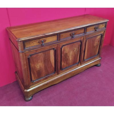 Sideboard With Three Doors And Three Drawers, In Light Mahogany Descrizione En