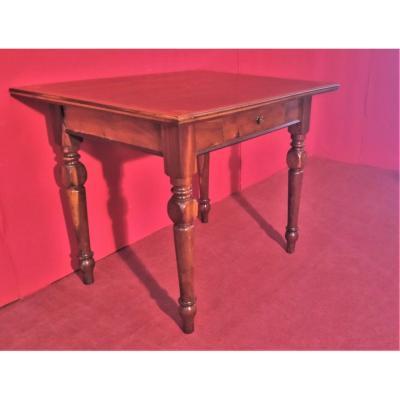 Petite Table Avec Plateau Incrusté Et Tiroir