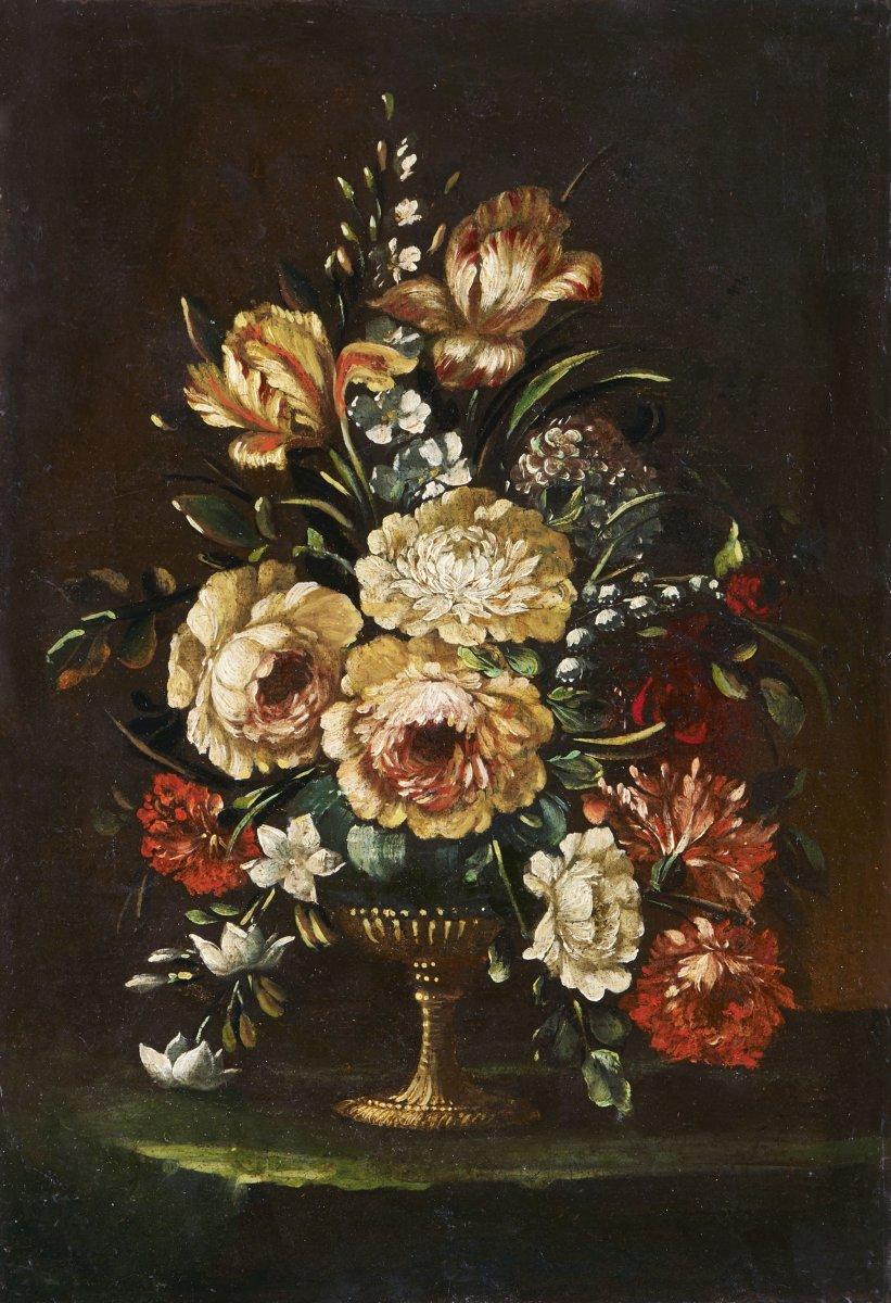 Paire De Vases à Fleurs Rome '700