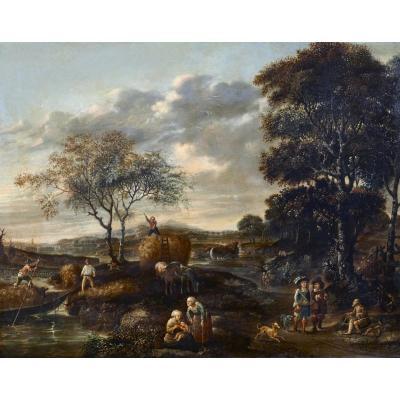 Paysage En Plen Air Signé J. Z. Blijhooft Fecit 1668