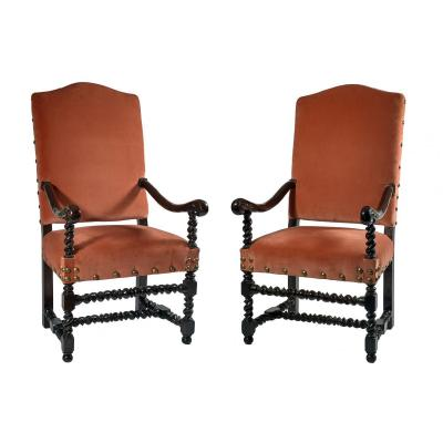 Middle Of The 17th Century Pair Of Armchairs