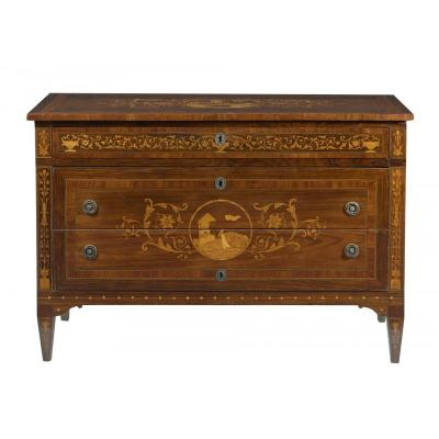Chest Of Drawers With Marquetry 18th Century