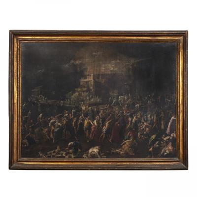 Majestic Italian Painting Signed (companion Sciopione) Massacre Of Innocents
