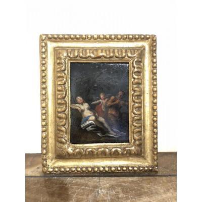 """Peinture Sur Ardoise """"pan Crie Une Nymphe Stimulee Par Cupidon"""""""