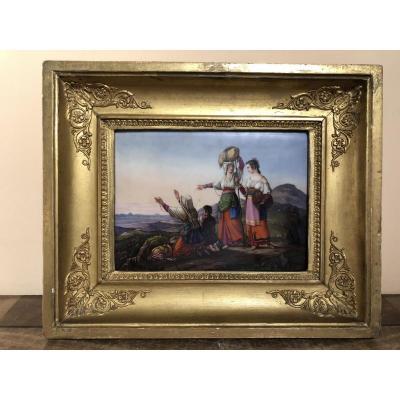 """Porcelain Plaque """"pilgrims Look At Rome"""""""