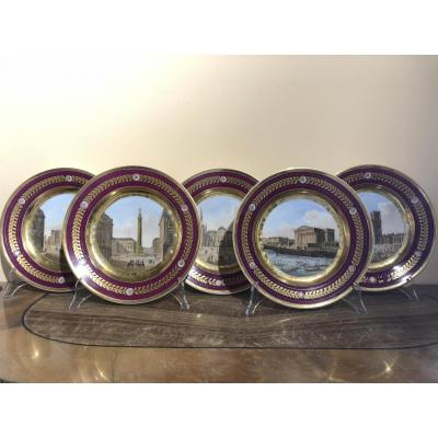 5 Porcelain Plates Representing Views Of Paris