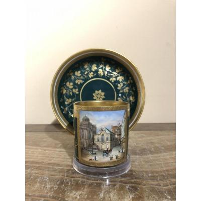 Porcelain Cup And Saucer From Imperial Vienna's Manufactory