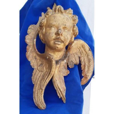 Ange En Bois Dore' Louis XV