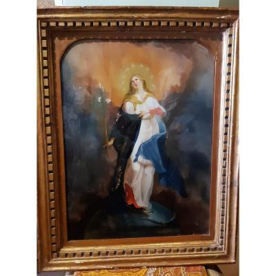 Madonna Under Glass From The 19th Century