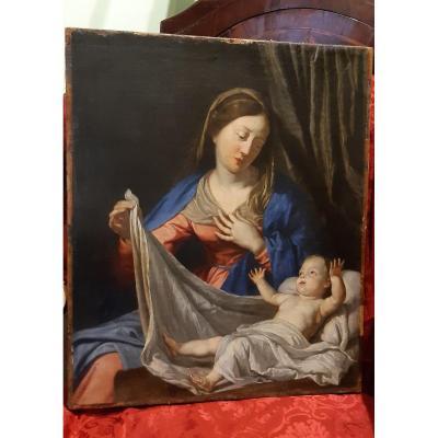 Tableau Vierge A l'Enfant,XVIISiecle