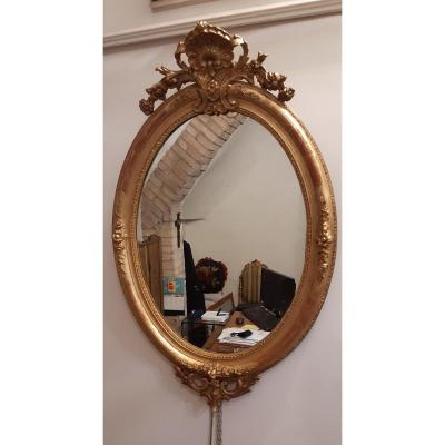 Grand Miroir Ovale Dore',xixeme Siecle