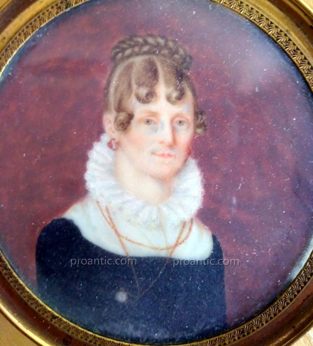 Miniature Hippolyte Chapon (1790-1838) Portrait De Femme. Signèe