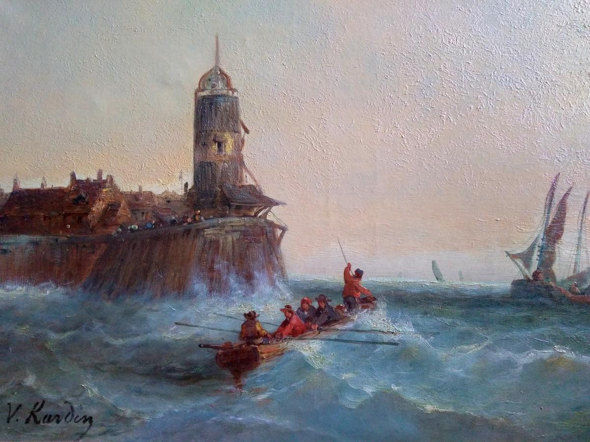 """Oil On Canvas. Holandaise School Of XIX Century. """"out Of Port By Big Time"""". Signed """"v: Kardin"""""""