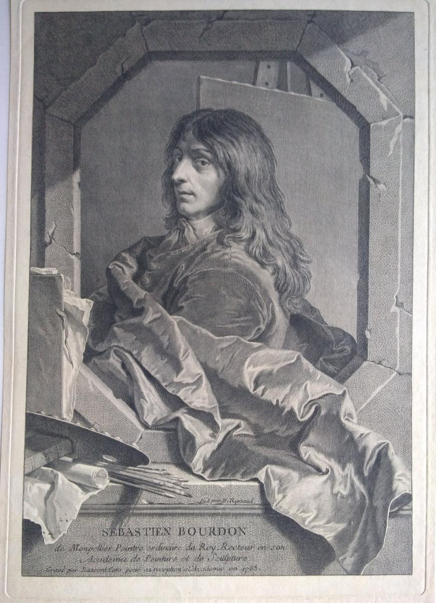 Portrait Gravure Ancienne XVIIIème. Ec. Française Par Rigaud
