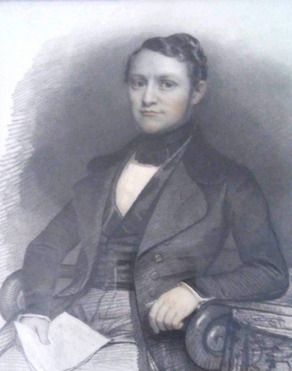 Portrait De Gentilhomme. École Française Vers 1840. Signé.