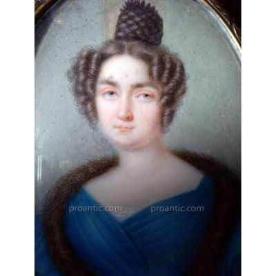 Miniature Portrait Femme A La Robe Bleue XIXÈme