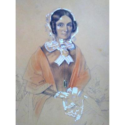 Portrait De Femme. Ec. Française XIXéme. Signé Boggi