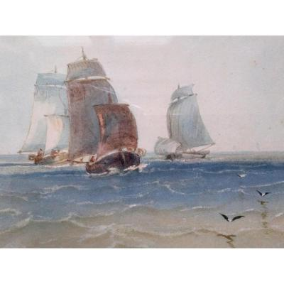 Paysage Marítime Dans Le Gout De XVII Siécle.  Signé F: Van Cauwemberg