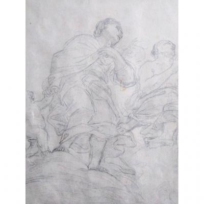Ecole Italienne Du XIX Siécle. Etude De Figures. Dit Carlo Maratta
