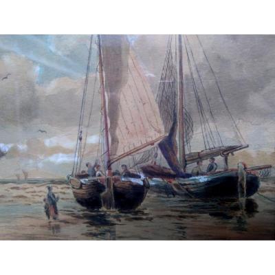AQUARELLE. Ernest. A.BARKER, XIX siécle.