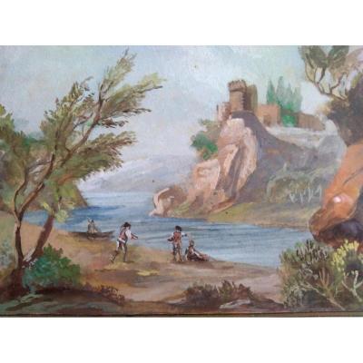 Paire Gouaches. Ecole Française XIX. Paysages Lacustres.