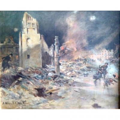 Huile Sur Toile. Ecole Française Du XIX Siécle. Raoul Arus (1848-1921) Incendie d'église