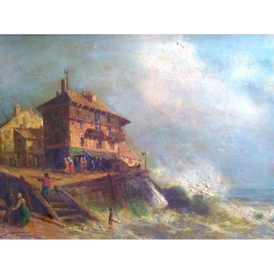 """HUILE SUR PANNEAU. KAUSER (actif XIX.xx Siécle) """"Maisons En Bord De Mer"""""""