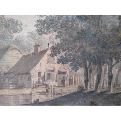 Dessin Ancien. Ec. Hollandais Du XVIII Siècle