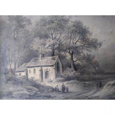 Dessin Ecole FranÇaise XIXÈme. Signé Pernot (1793- 1865).