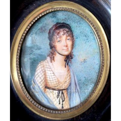 Miniature Portrait Jeune Fille XIXème Siècle. Signée