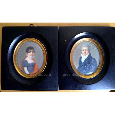 "Paire De Miniatures Portraits Signées ""Reinhard 1812"""