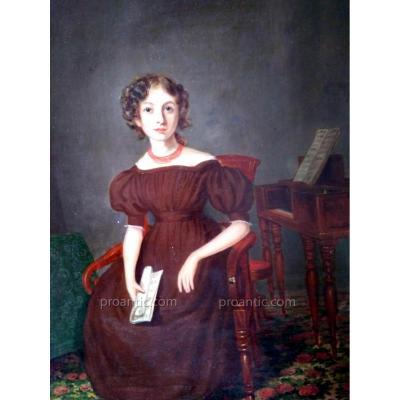 Portrait Jeune Musicienne Au Clavencin Vers 1830. Huile Sur Panneau