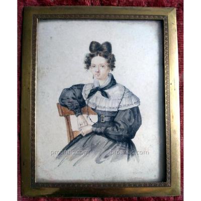 """Petit Aquarelle Signèe """"Vallet 1830"""". Femme Assise"""