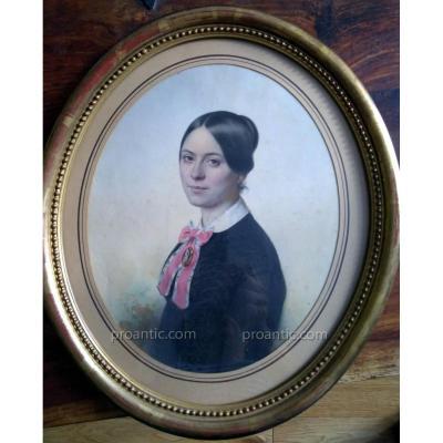 Demoussy, August Luc (1809-1889) Portrait De Femme De Qualitè.