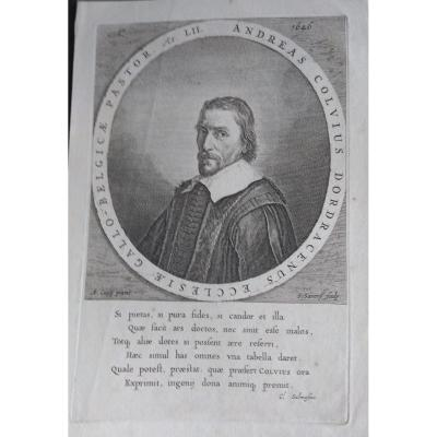 Portrait Gravure Ancienne XVIIème. Ec. Hollandaise