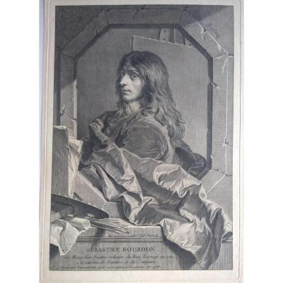 Portrait Engraving Old XVIII. French School By Rigaud
