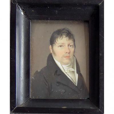 Portrait Miniature èpoque Empire. Ec. Française XIXéme. Signé