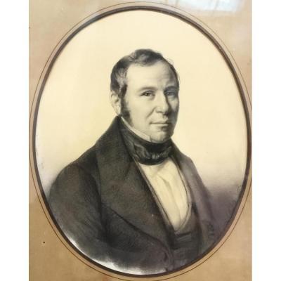 August Luc Demoussy (1809-1880) Portrait De Gentilhomme