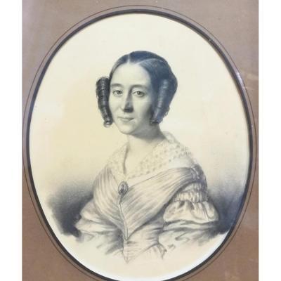 August Luc Demoussy (1809-1880) Portrait De Femme signé et daté