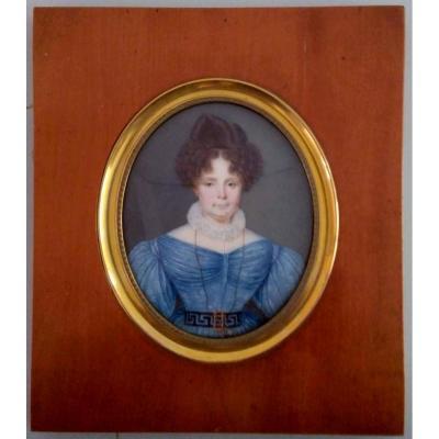 Portrait Miniature Signé Bonhomme Et Daté 1829