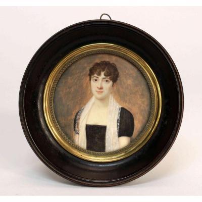 Portrait Miniature Femme époque Empire