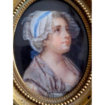 Jean Baptiste Greuze (dans Le Gout De) 1725-1805. Miniature Portrait De Fille