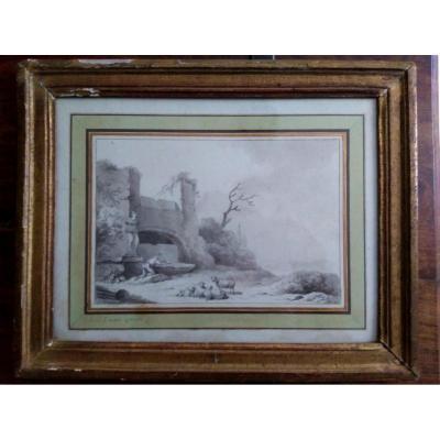 Eschard, Charles, 1748-1810. Lavis. Paysage aux moutons