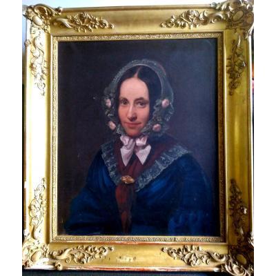 Portrait Jeune Fille Au Bonnet De Dentelles. Ec. Française XIXème