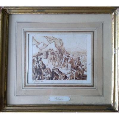 "Eugène Gondar (née 1812-?)) ""Bellovèse"". Lavis"